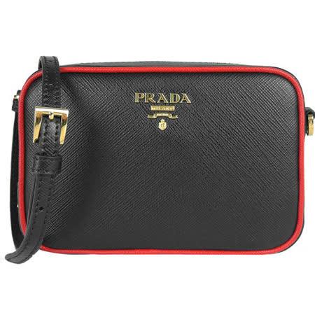 PRADA Saffiano Lux防刮牛皮雙色邊框方形小斜背包(中/黑x紅)