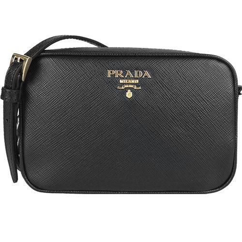 PRADA Saffiano Lux防刮牛皮方形小斜背包(中/黑)