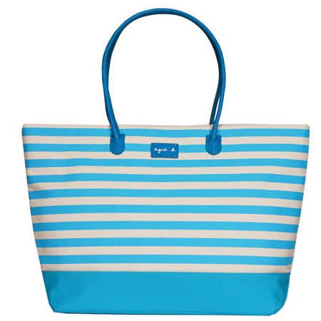 agnes b. 帆布皮標橫條紋手提包(大/水藍)