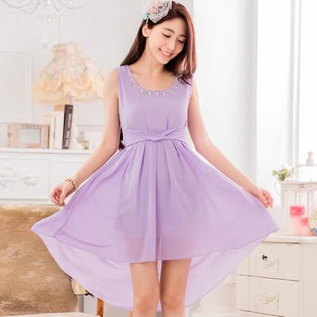 【白色戀人中大尺碼】紫色高雅珠鏈雪紡小禮服