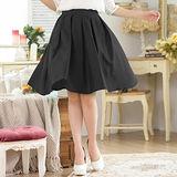 【KVOLL大尺碼】黑色修身顯瘦百摺及膝裙