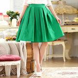 【KVOLL大尺碼】綠色修身顯瘦百摺及膝裙