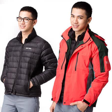 【遊遍天下】GlobeTex男女款兩件式防水防風透濕保暖機能外套A01617桔
