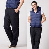 【遊遍天下】中性款防風刷毛保暖褲P014深藍