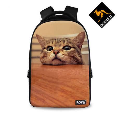 【DOUBLE JJ】FOR U動物系列15.6吋筆電/10吋平板兩用電腦休閒後背包(貓咪)