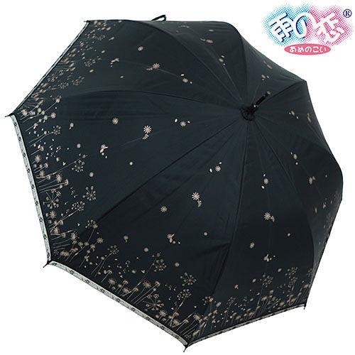 ◆日本雨之戀◆ 鈦金膠散熱降溫3~5℃夕霧草直傘{黑內香檳金}遮陽傘/雨傘/雨具/晴雨傘/專櫃傘