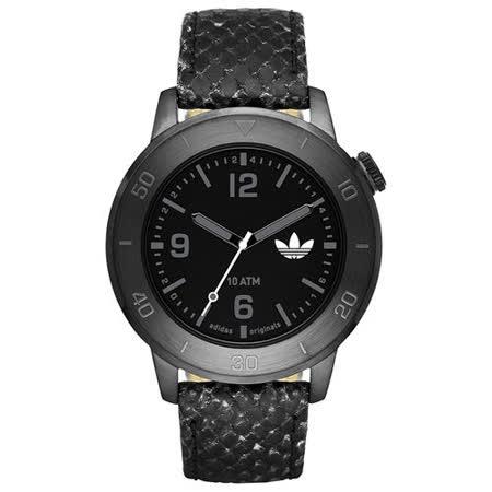 adidas 酷勁進擊時尚腕錶-黑x蛇紋