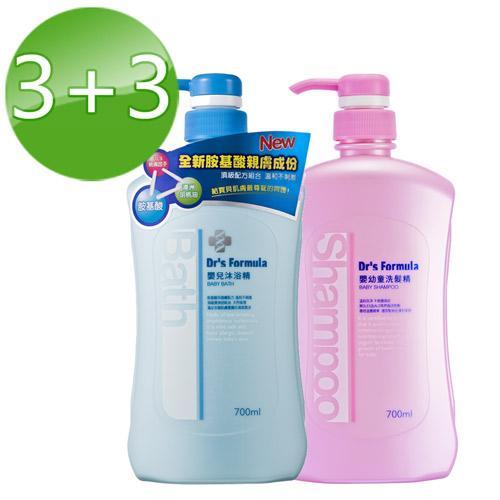 台塑生醫Dr's Formula 嬰兒沐浴精+嬰幼童洗髮精 3+3/組700ml