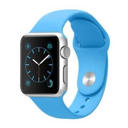 Apple WATCH SPORT 38mm/38公釐 A 銀色鋁金屬錶殼 藍色運動型錶帶【含螢幕保護貼+專用錶套】(MJ2V2TA/A)