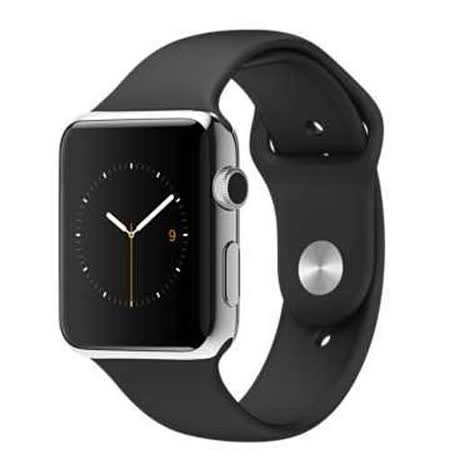 Apple WATCH 42mm/42公釐 S 不鏽鋼錶殼 黑色運動型錶帶【含螢幕保護貼+觸控筆+專用錶套】(MJ3U2TA/A)