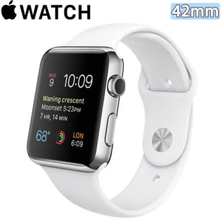 Apple WATCH 42mm/42公釐 S 不鏽鋼錶殼 白色運動型錶帶【含螢幕保護貼+觸控筆+專用錶套】(MJ3V2TA/A)