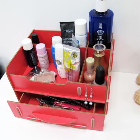 【ikloo】木質多功能抽屜式小物收納盒(2入)