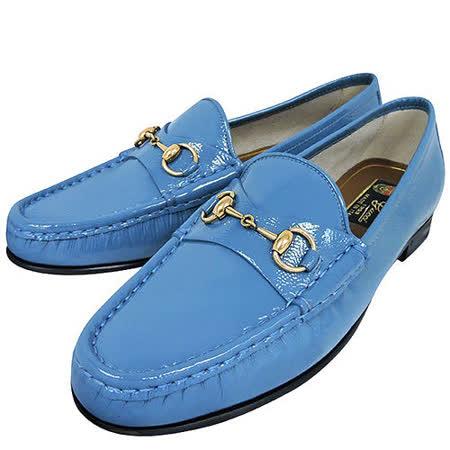 GUCCI 真皮經典馬銜樂福鞋-藍色(37.5號)