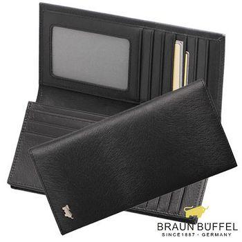 BRAUN BUFFEL 德國小金牛 提貝里烏斯系列15卡長夾 - 黑色