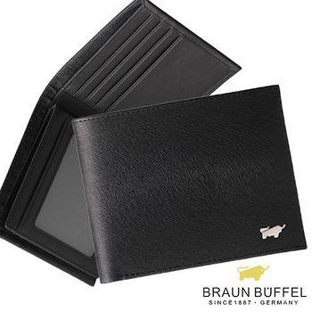 BRAUN BUFFEL 德國小金牛 提貝里烏斯系列12卡左右翻相片短夾 - 黑色