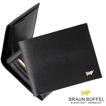 BRAUN BUFFEL 德國小金牛 提貝里烏斯系列4卡短夾附零錢袋 - 黑色
