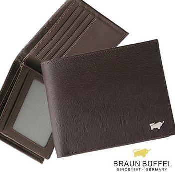 BRAUN BUFFEL 德國小金牛 提貝里烏斯系列12卡左右翻相片短夾 - 咖啡