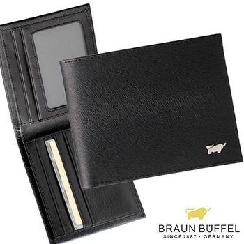 BRAUN BUFFEL 德國小金牛 提貝里烏斯系列5卡相片短夾 - 黑色