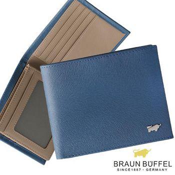 BRAUN BUFFEL 德國小金牛 提貝里烏斯系列12卡左右翻相片短夾 - 海藍