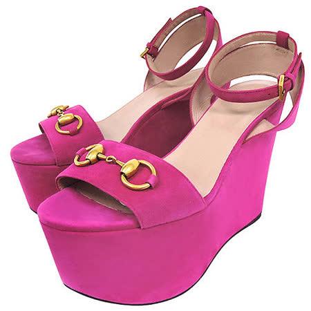 GUCCI 麂皮經典馬銜高跟楔型涼鞋-桃紅色(37號)