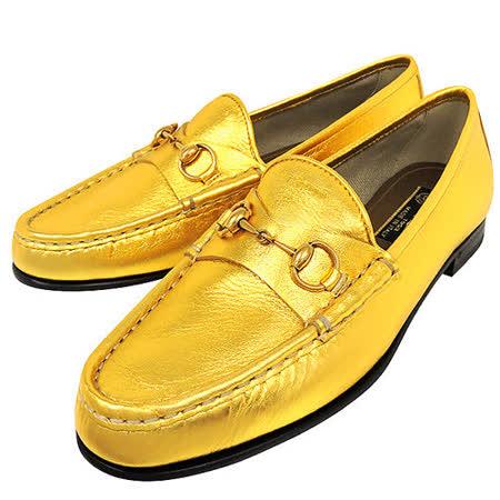 GUCCI 真皮經典馬銜樂福鞋-金色(37.5號)
