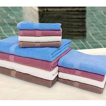 純棉飯店級浴巾-亞麻棕/珍珠紅(68*137cm)
