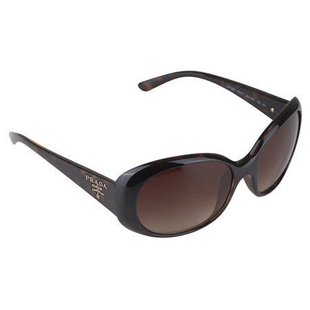 PRADA 經典LOGO印字微透圓框太陽眼鏡(豹紋)