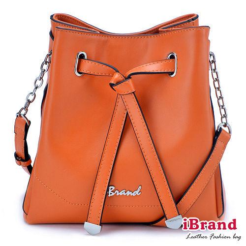iBrand真皮~韓系風格Ladies優雅扭結肩側背包~俏麗橘