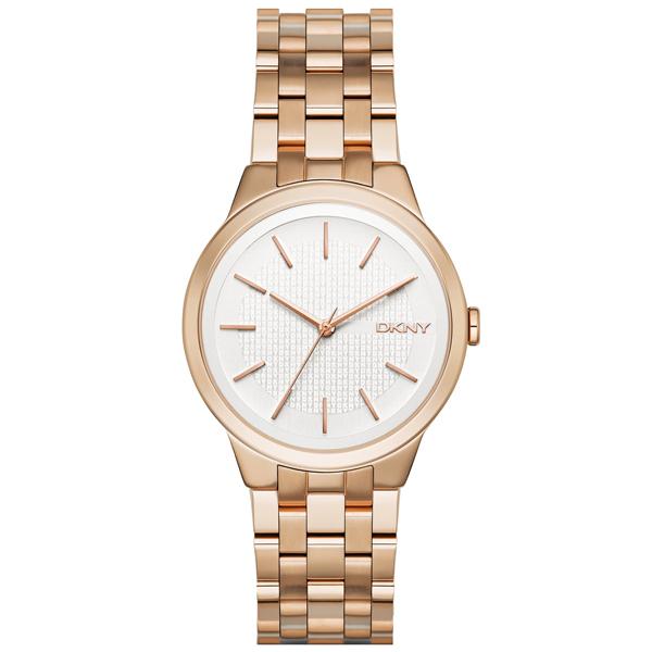 DKNY  風華紐約韻味時尚腕錶-白X玫瑰金