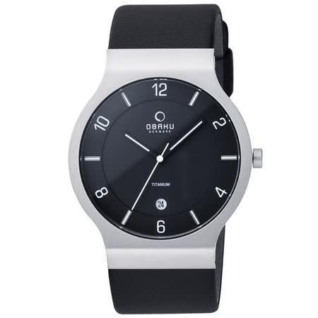 OBAKU 北歐極簡時代鈦金屬腕錶(黑/皮帶/大)