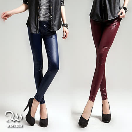 WINCEYS 韓風流行仿皮內搭褲-素色