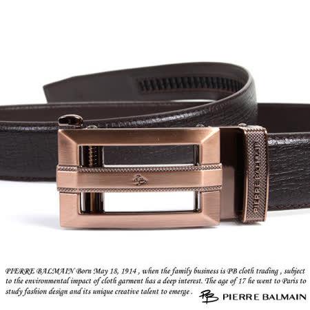PB-皮爾帕門-頭層牛皮 精品 自動扣皮帶-古銅金855010