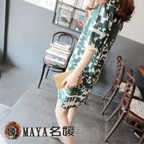 【Maya 名媛】(S~2XL)透氣棉麻用料 寬版休閒風格 大純色隨機拼圖款 連衣裙-綠