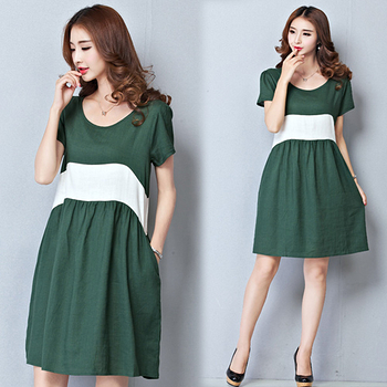 【韓國K.W.】簡約復古撞色棉麻洋裝