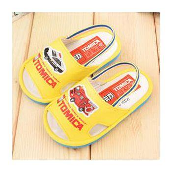童鞋城堡 Tomica多美小汽車 小童 學步嗶嗶後帶拖鞋 TM0580-黃