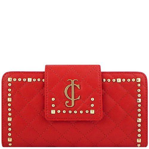 JUICY COUTURE 皮革壓紋長夾-紅色