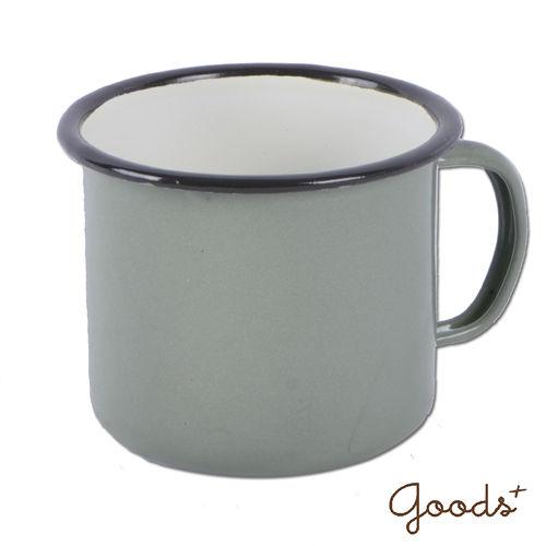 ~goods ~復古琺瑯 素色咖啡8號矮杯_EC03^(灰綠^)