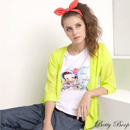 【Betty Boop貝蒂】下擺透明荷葉邊公主袖圓領T恤(黃色)