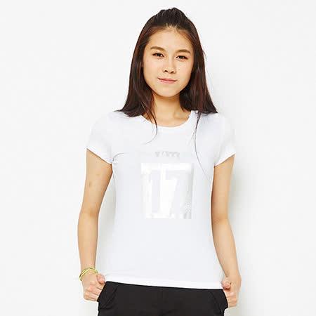 TOP GIRL 簡單17號數字吸濕排汗圓領T-白
