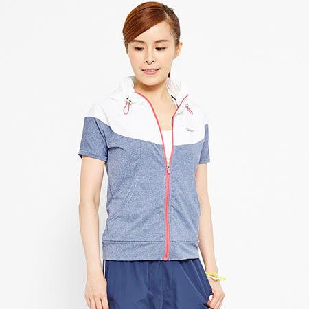 TOP GIRL 配色拼接連帽短袖外套-藍