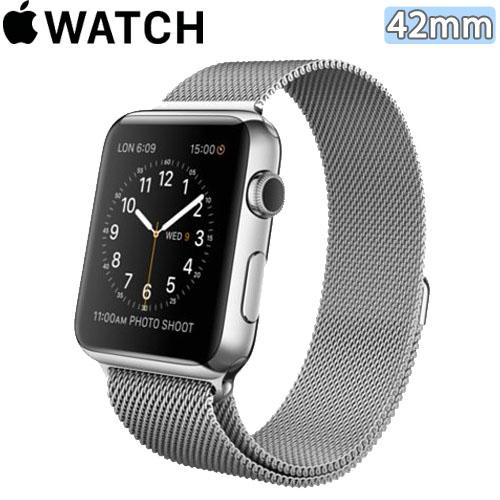 Apple WATCH 42mm/42公釐 S 不鏽鋼錶殼 米蘭式錶環【含螢幕保護貼+觸控筆+專用錶套】(MJ3Y2TA/A)