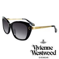 Vivienne Westwood 英國薇薇安魏斯伍德經典LOGO金邊太陽眼鏡(黑)