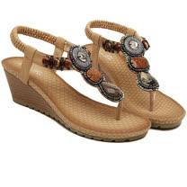 【Maya easy】仿瑪瑙串土耳其風夾腳坡跟涼鞋/ 海灘鞋 (杏色)