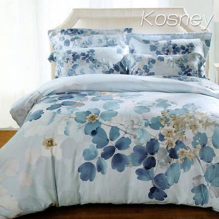 《KOSNEY 逆流時光藍》雙人100%天絲TENCEL六件式床罩組