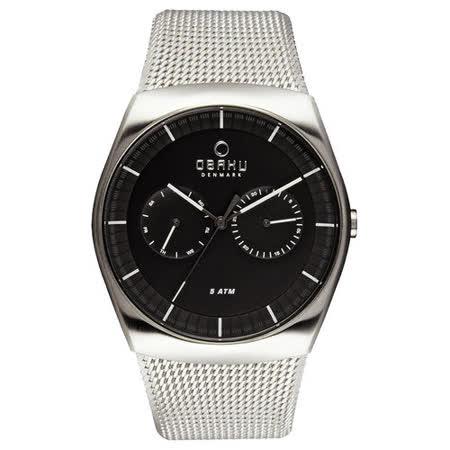 OBAKU 浩瀚星宇雙眼日期腕錶-銀框x黑米蘭帶