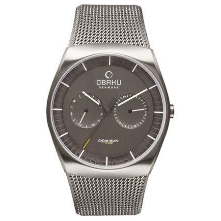 OBAKU 浩瀚星宇雙眼日期腕錶-銀框x灰米蘭帶