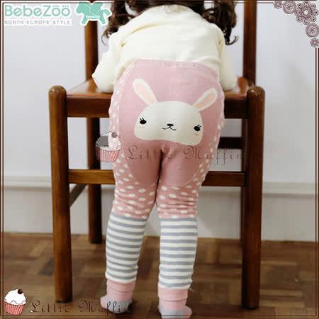韓 BEBE ZOO 可愛粉紅兔內搭長褲+防滑襪二件組套裝 80/90/100