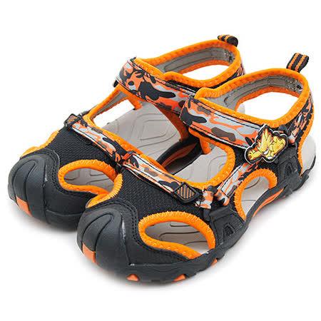 【大童】SEER 賽爾號 專業護趾卡通涼鞋 裝甲悍馬系列 黑橘灰 46110