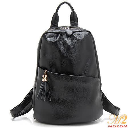 【MOROM】真皮實用美型流蘇後背包(黑色)7091