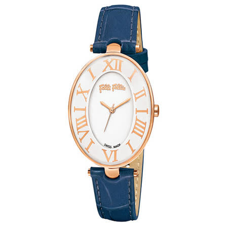 Folli Follie 嫵媚翩舞時尚皮帶腕錶-藍